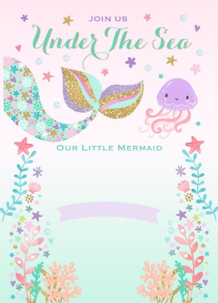 Invitación Del Cumpleaños De La Sirena Bajo Fiesta Zazzle
