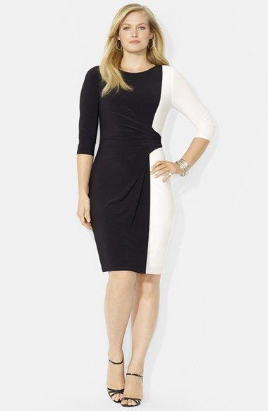Lauren Ralph Lauren Colorblock Matte Jersey Dress Plus Size