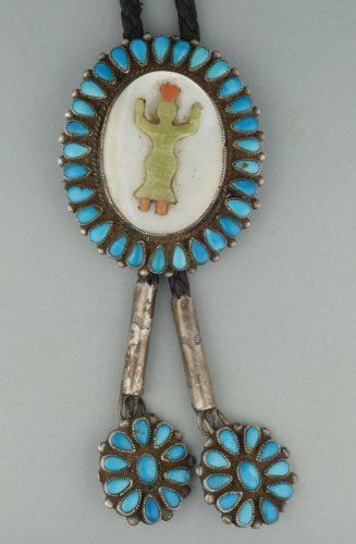 Zuni Inlay Bolo Tie with Serpentine and Coral Gan Dancer and Turquoise Cluster Border and Tips. c.1970s