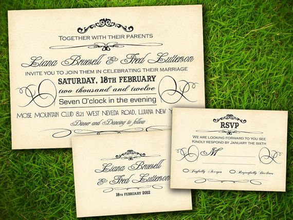 wedding invitation and rsvp card suite by vintagebellsandco 25 00