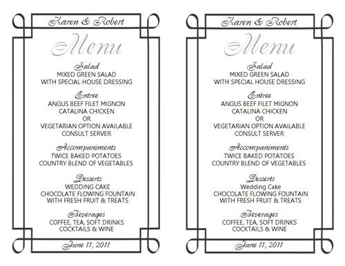 Free Wedding Menu Templates! http\/\/wwwweddingmenutemplate - dinner menu templates free