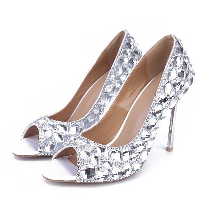 Silver Crystal Wedding Bridal Shoes Summer Women Sandals