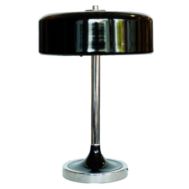 Art Deco Black and Chrome Table Lamp