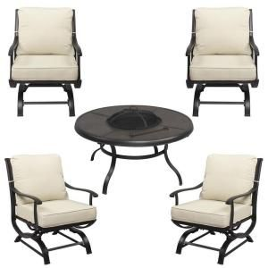 hampton bay redwood valley 5 piece patio fire pit seating set