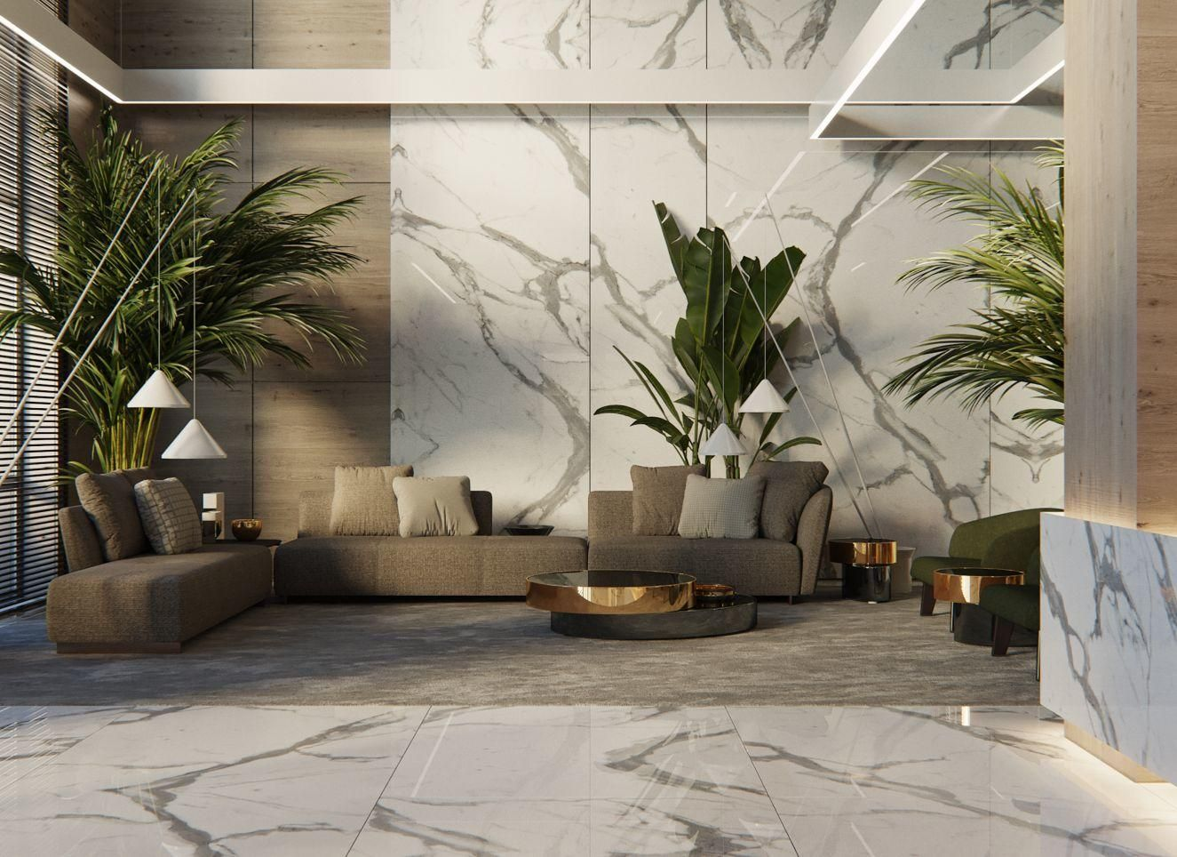 Lobby lounge hotel public space marble modern for Tropical hotel decor