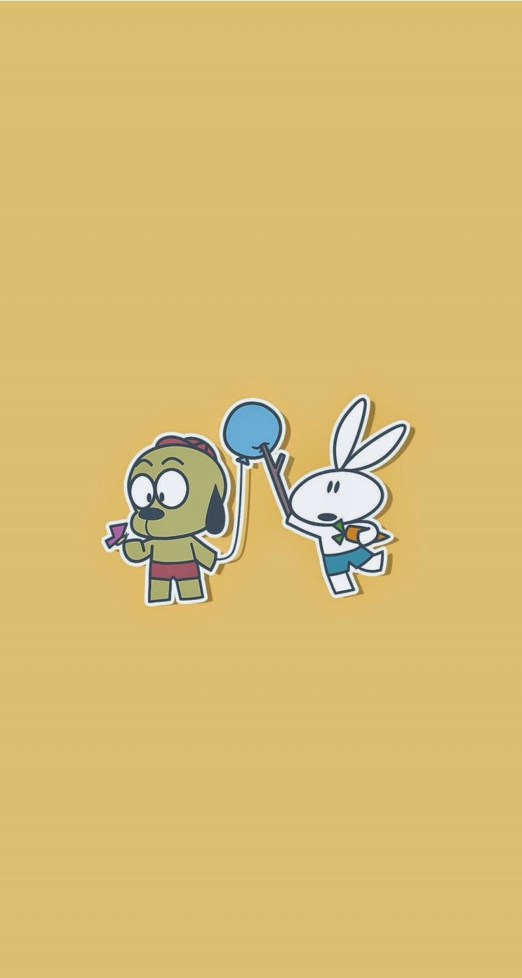 poke! cute bunny and the dog wallpaper for iphone. tap to see more