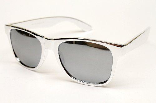 11f70a5e8e 80s Nerd Vintage Wayfarer Retro Chrom... Mirrored Sunglasses