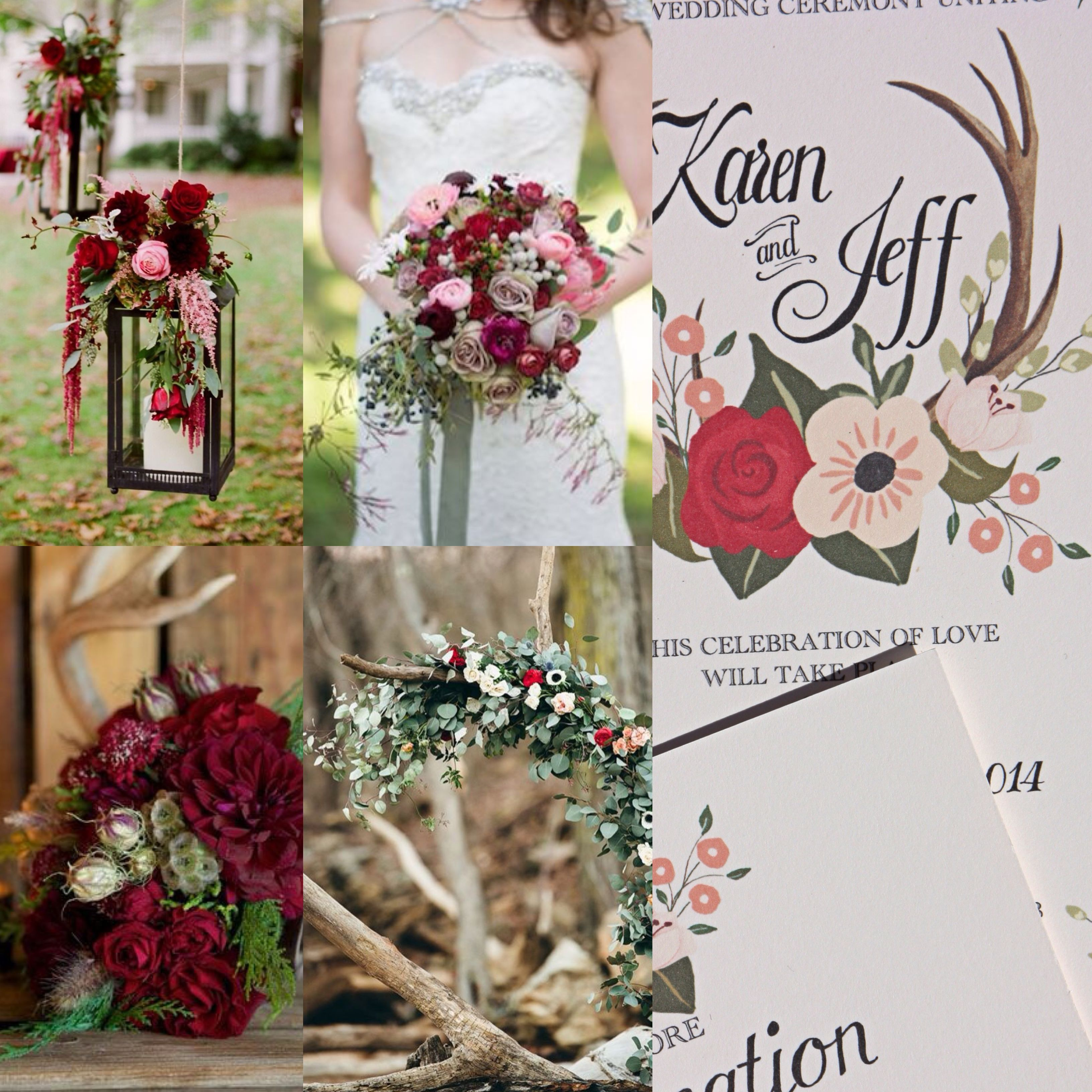 Red And Pink Antler Wedding Theme Invitation By Behold Designz