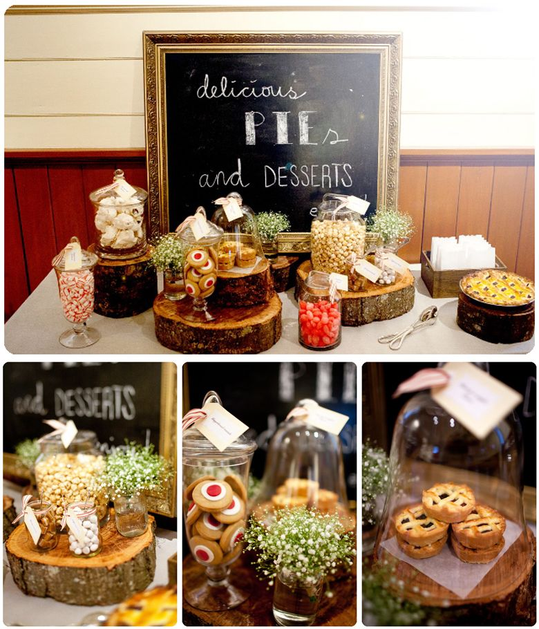 Fall Wedding Dessert Table: Delicious Pie Dessert Table (adoro A Moldura E As Bases Em