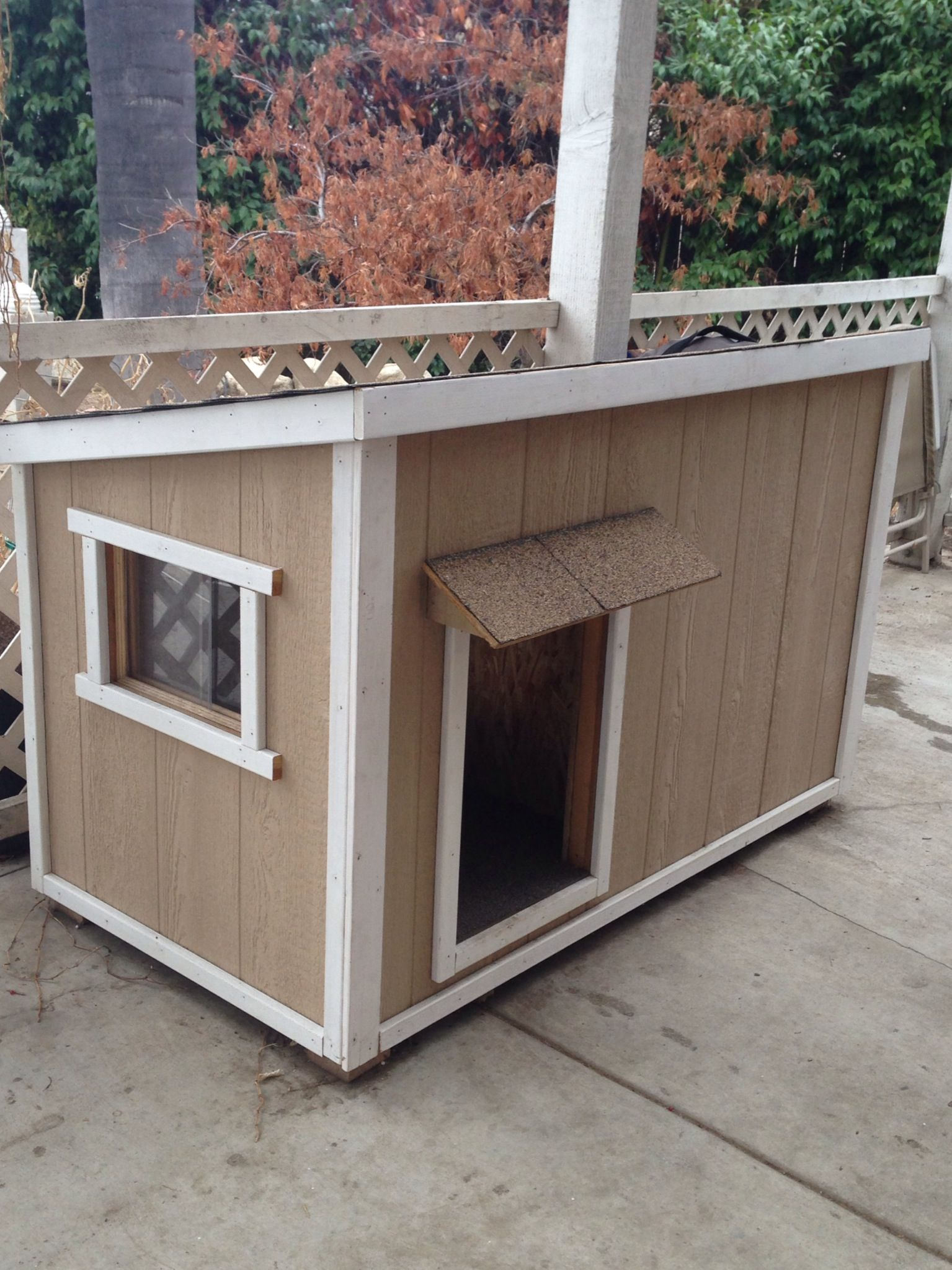 Home Made Dog House My Husband Built With A Sliding Window