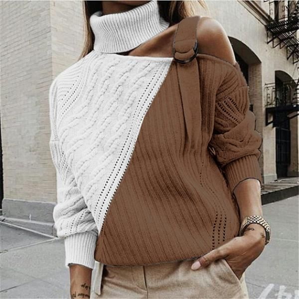 Women's off-the-shoulder long sleeve colorblock sweater – shewaves    Source by lora020371 #Colorblock #Long #OfftheShoulder #One shoulder sweater #Sleeve #Sweater #Womens