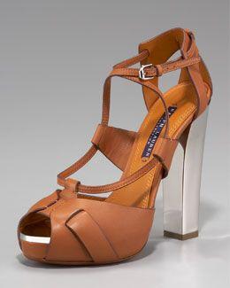 Ralph Lauren Kacy Metal-Heel Sandal