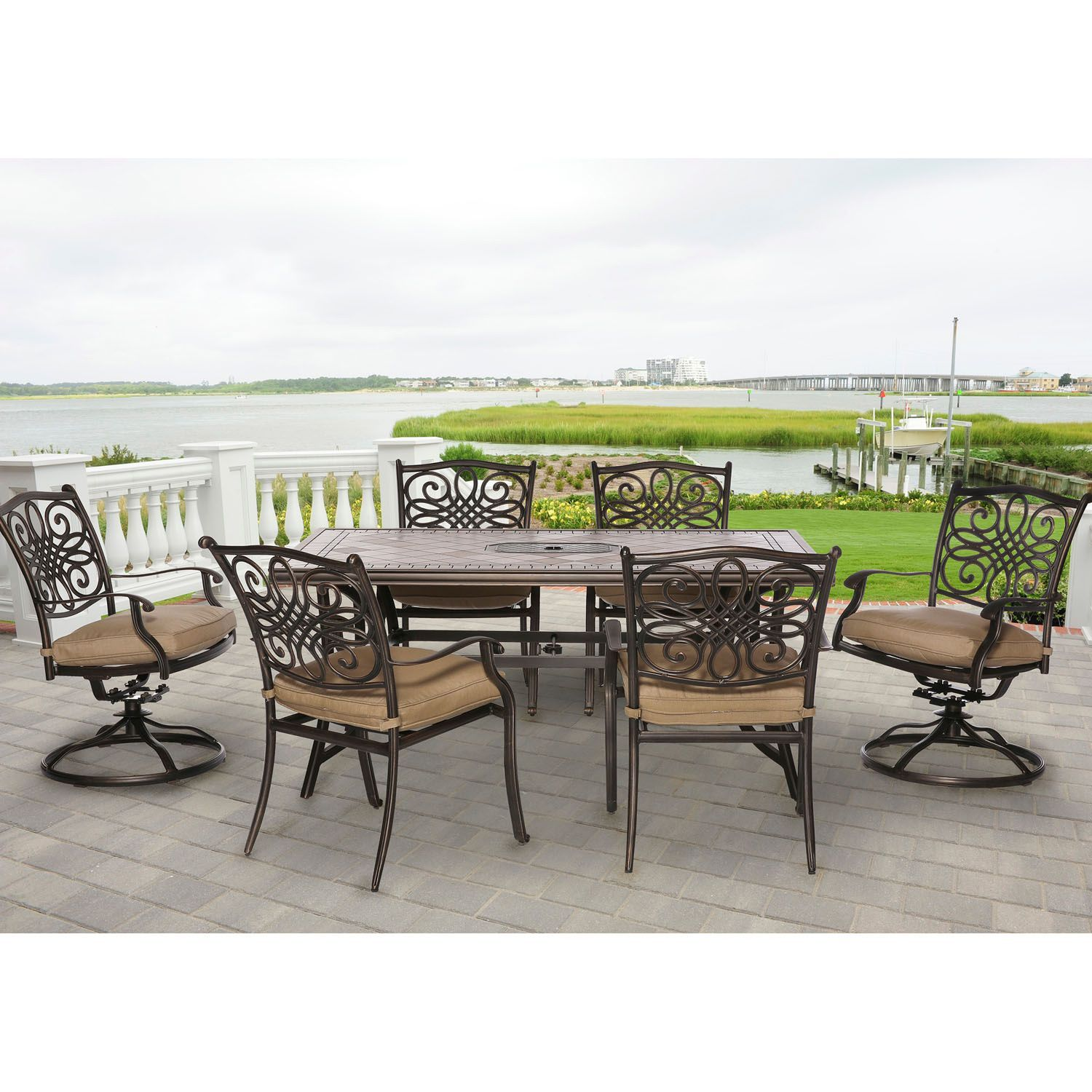 Hanover Outdoor Monaco 7 piece Dining Set Tan Size 7 Piece Sets