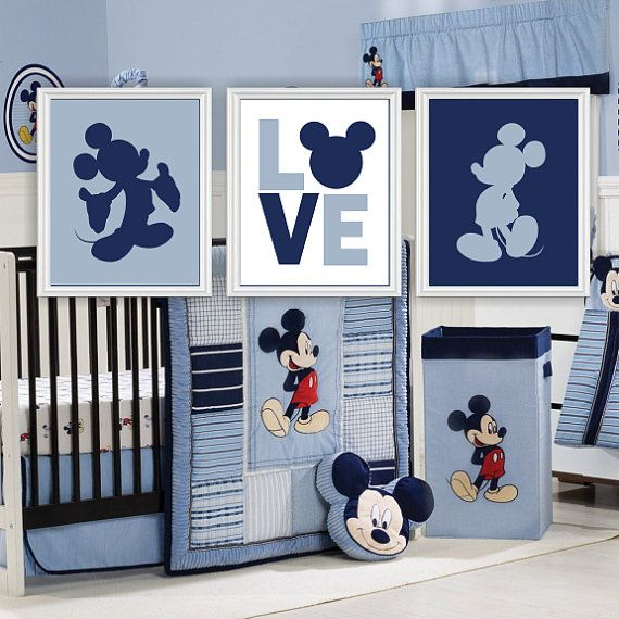 Disney mickey mouse silhouette, liebe, wand kunst, baby boy zimmer ...