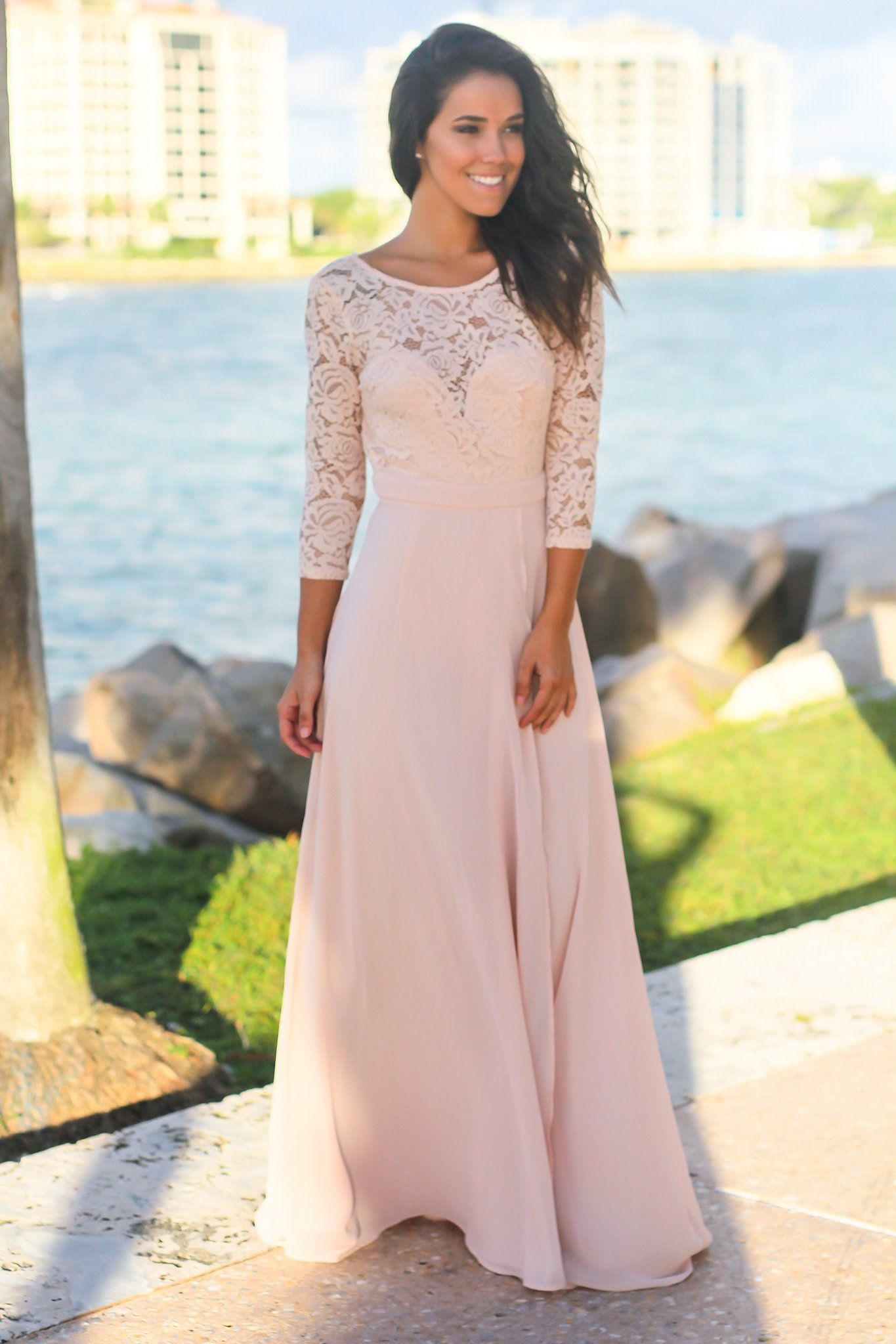d9958759a0 Blush Lace Maxi Dress with 3 4 Sleeves in 2019