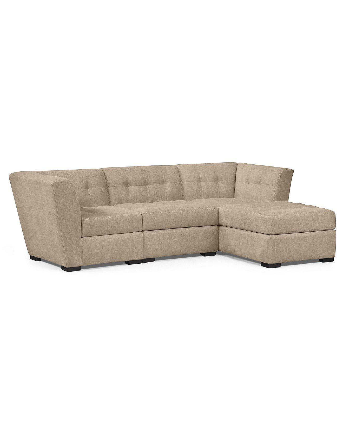 Mink Roxanne Fabric Modular Sectional Sofa 3 Piece