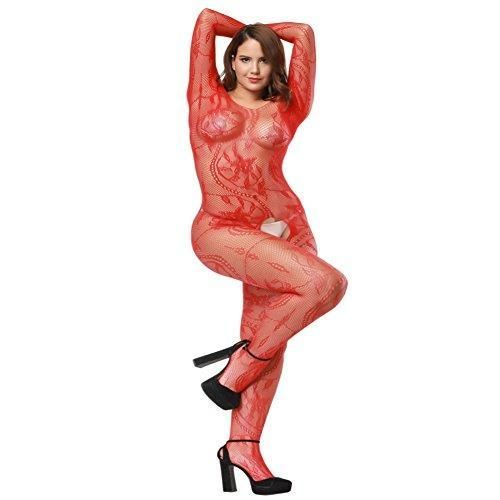 3ac61fb64 Red Plus Size Fishnet Crotchless Bodysuit With Sleeves