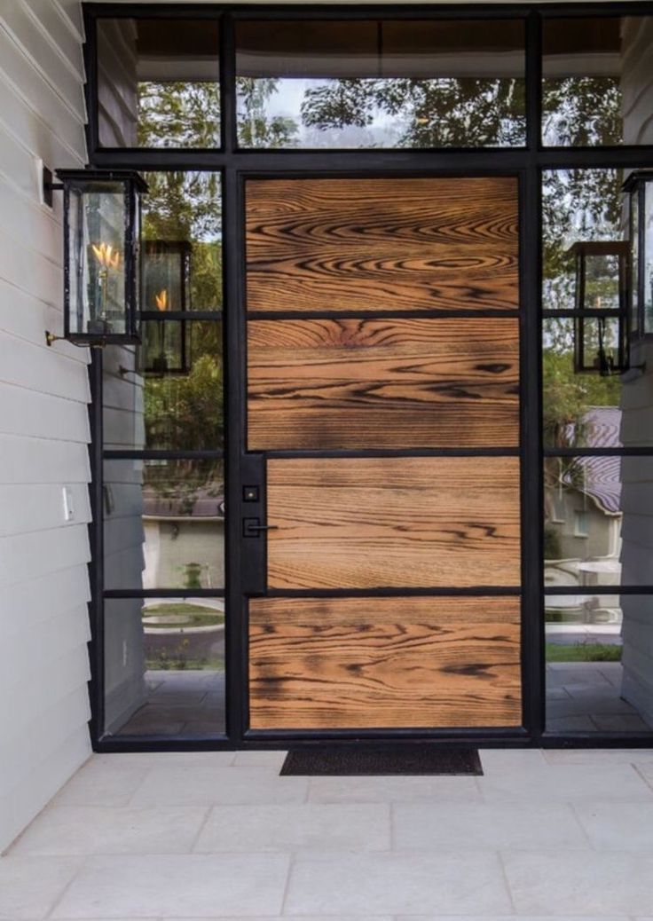 Stunning Architecturally Interesting Wood Door And Giant Outdoor