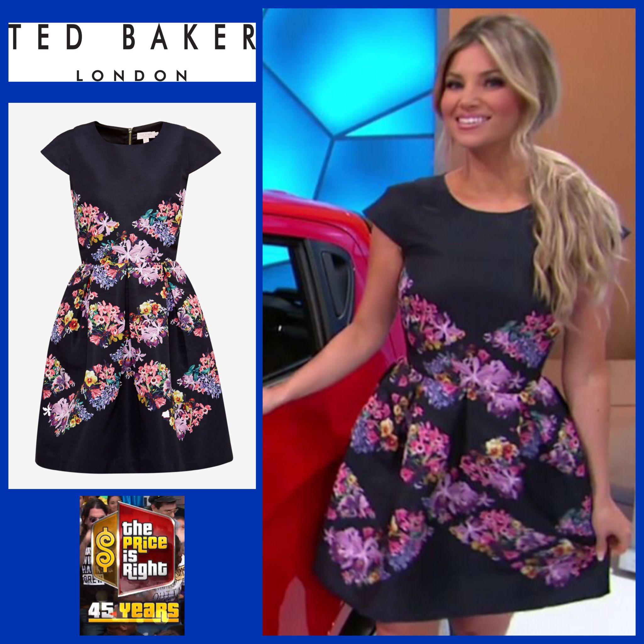 d95a59d9d TED BAKER LONDON Girley Lost Gardens Diamond Skater Dress in Black worn by  Amber Lancaster