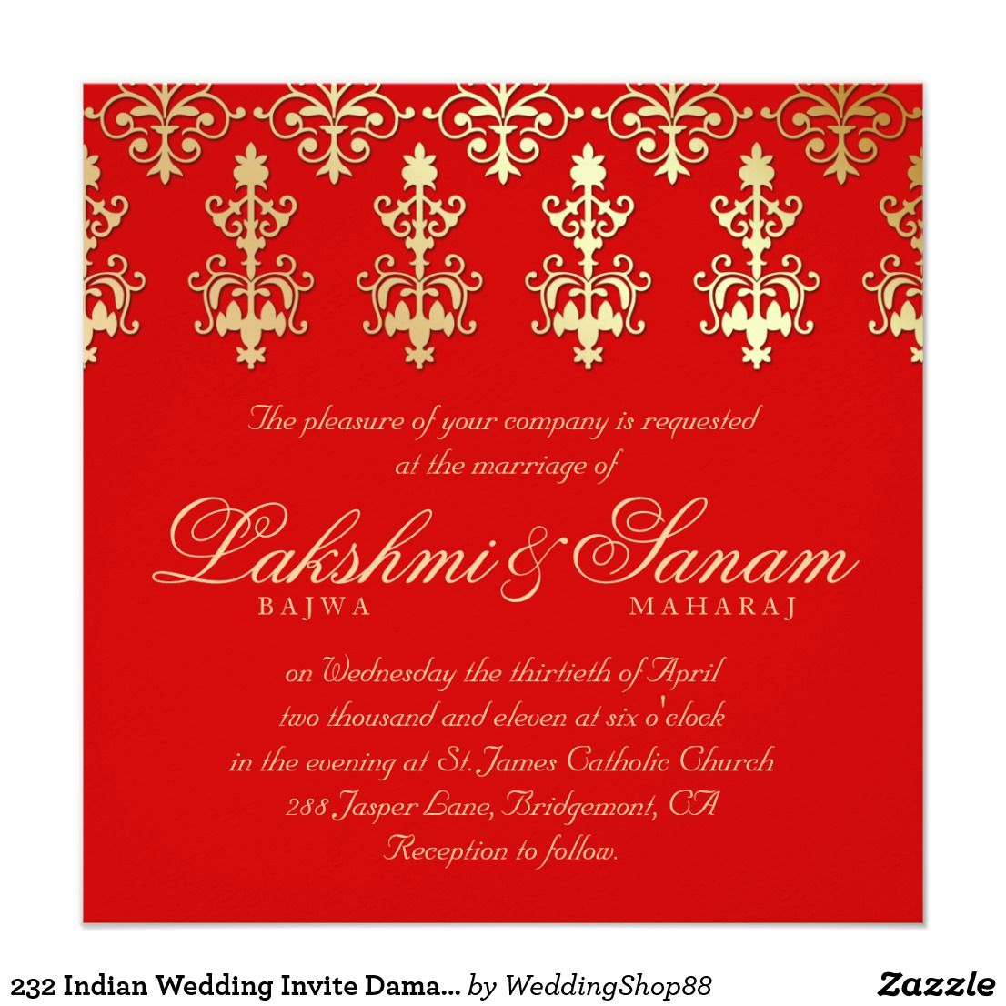 232 Indian Wedding Invite Damask Gold Autumn Red