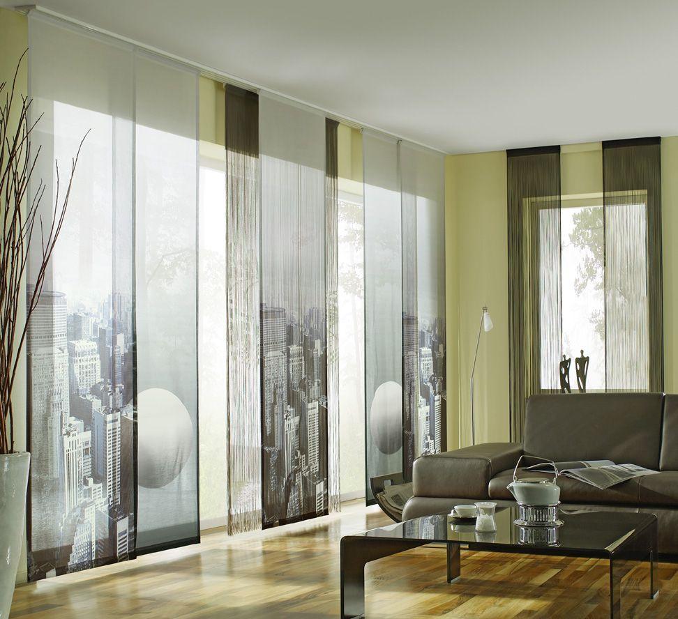 Tolle Fensterdeko Idee Digitaldruck Flchenvorhnge In Kombination Mit Graphischen Motiven Werten Jedes Interieur Auf