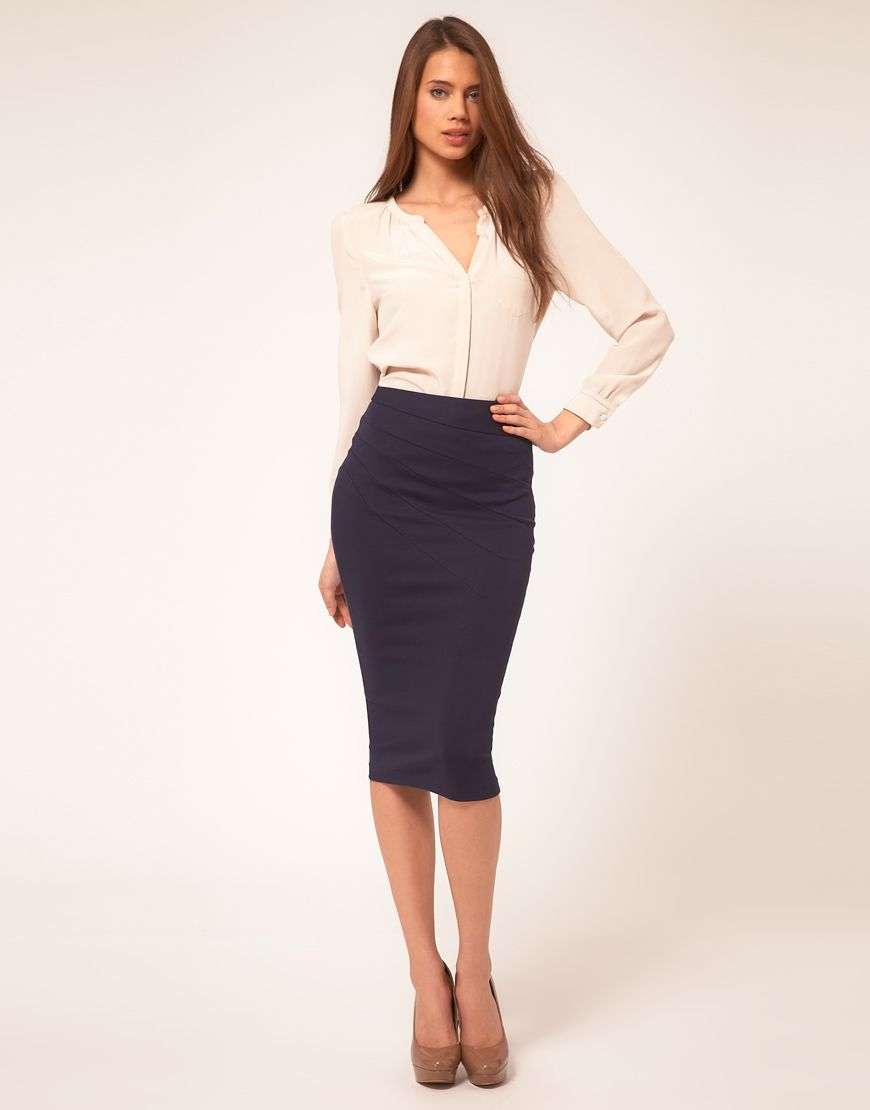 Gray Pencil Skirt Black Blouse and Black High Heels | Fashion ...