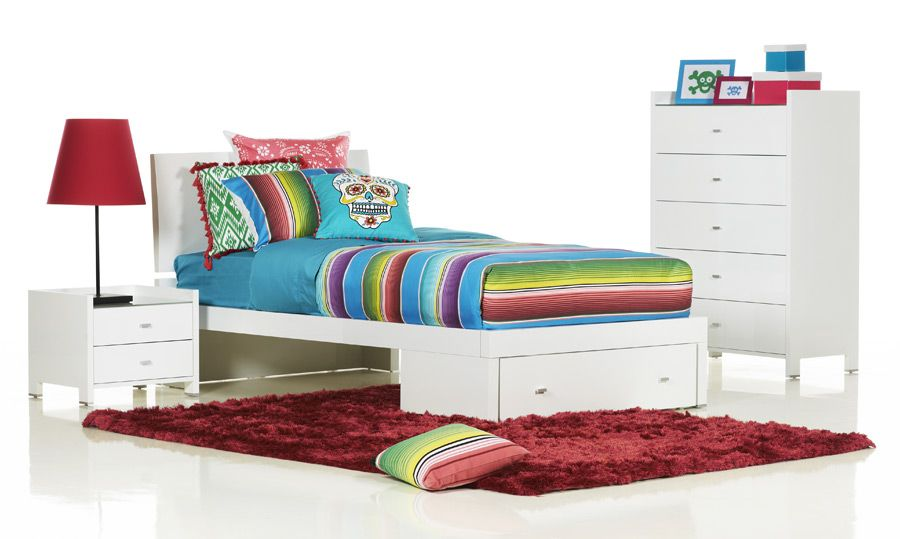 Rimini White King Single High Gloss Kids Bed | Bedshed | Furniture ...