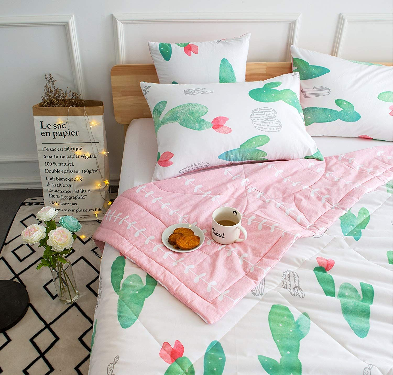 Kids Cute Cactus 4 Pieces Comforter Set Twin Bed In A Bag For Kids