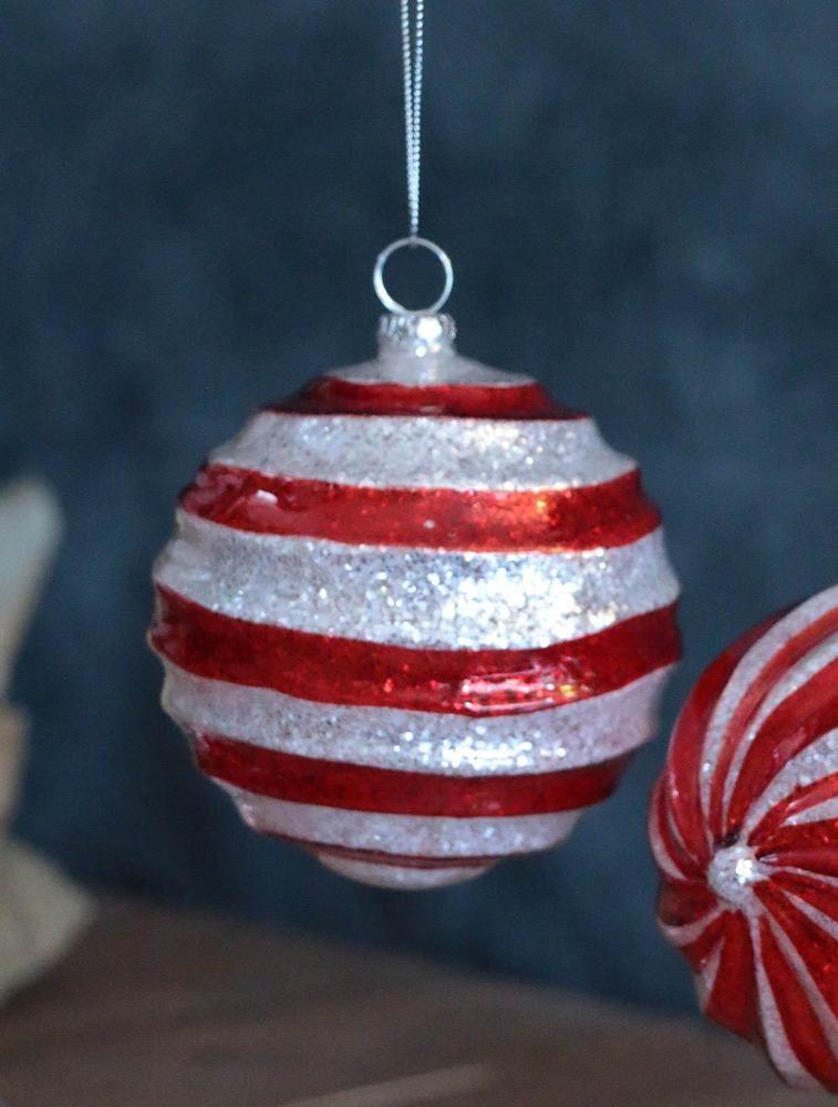 Raz Imports Christmas Ornament Red White Swirl Glittered Glass Ball