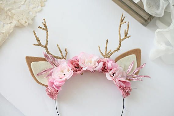 Blushing Deer -- pink mauve glitter woodland floral deer antler headband  flower crown 229503d5eac