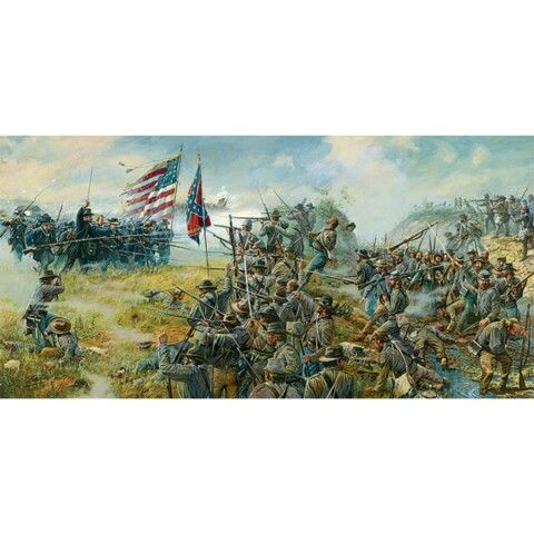 "The Sixth Wisconsin Infantry Regiment, on the left, charges the 2nd Mississippi Infantry Regiment in the Unfinished Railroad Cut on the morning of July 1, 1863. This image, titled ""The Railroad Cut"" by artist Dale Gallon."