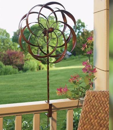 Attractive Pinwheel Flower Deck Rail Mount Wind Spinner, Pinwheel Whirligigs, Deck  Design Wind Spinners At Songbird Garden