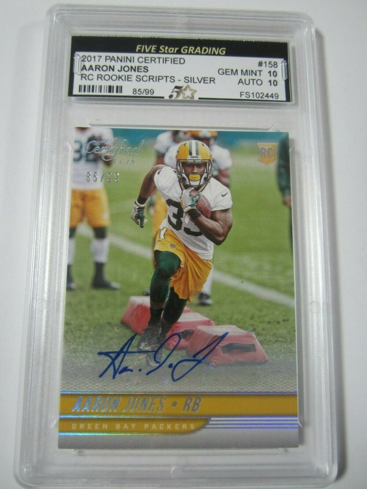 2017 Panini Certified Aaron Jones Signed Rookie Scripts Card 99 Gem Mint 10 Jones Sign Green Bay Packers Players Green Bay