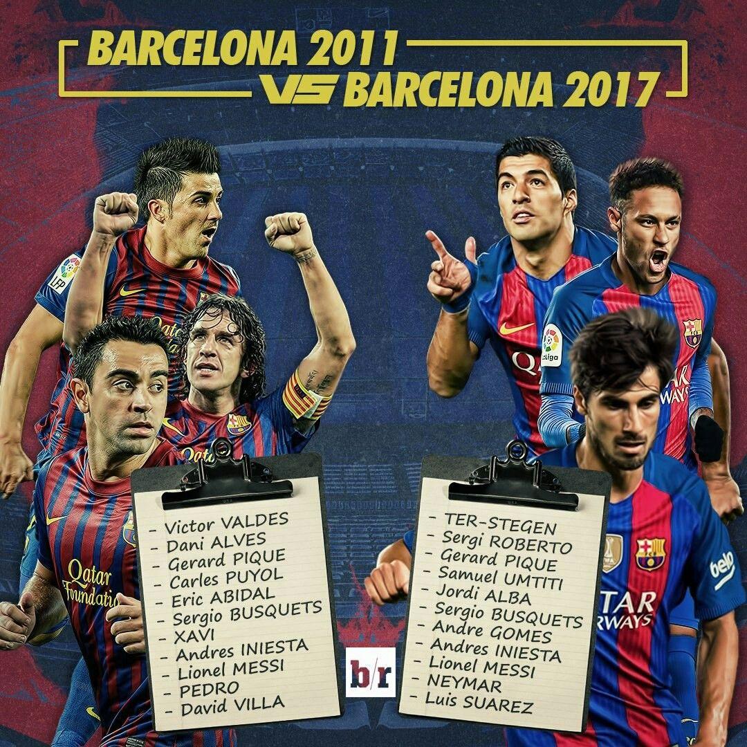 Barcelona best 11  2011 vs 2017