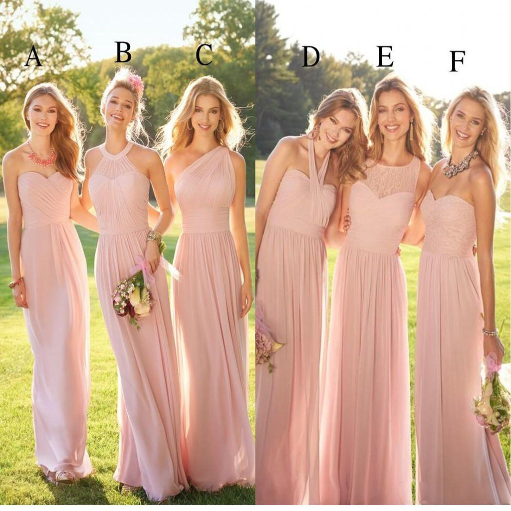 2020 Pastel Pink Cheap Long Lace Chiffon Bridesmaid Dresses, Mismatched Popular Custom Bridesmaid Dress For Wedding Guest, WG247 #lacechiffon