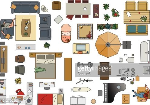 Colored Vector Illustration Of Furniture To Make A Floor Plan Of A