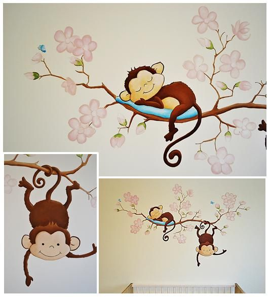 Aapjes Aan Een Bloesemtak Muurschildering Babykamer