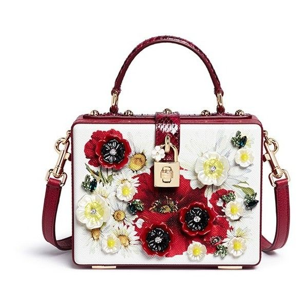 5be58a67412a DOLCE GABBANA  Daisy  crystal floral appliqué Dauphine leather box bag ❤  liked on Polyvore featuring bags