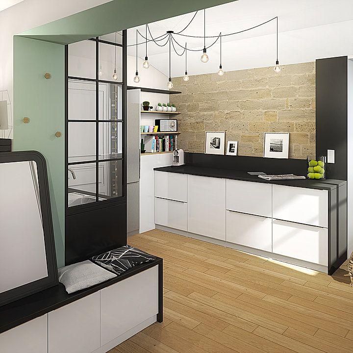 Une nouvelle cuisine à Bordeaux Perspective de projection de la - location studio meuble ile de france