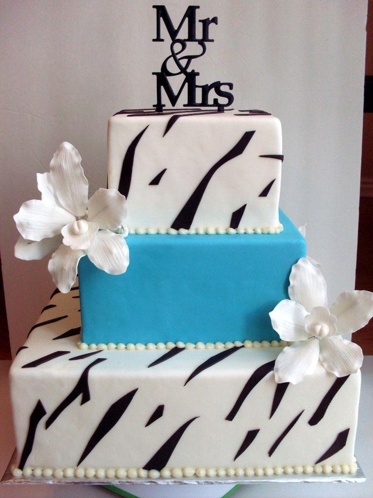 Zebra wedding decorations  Zebra And Teal Wedding Cake A Piece Of Cake Utah  Wedding Cakes