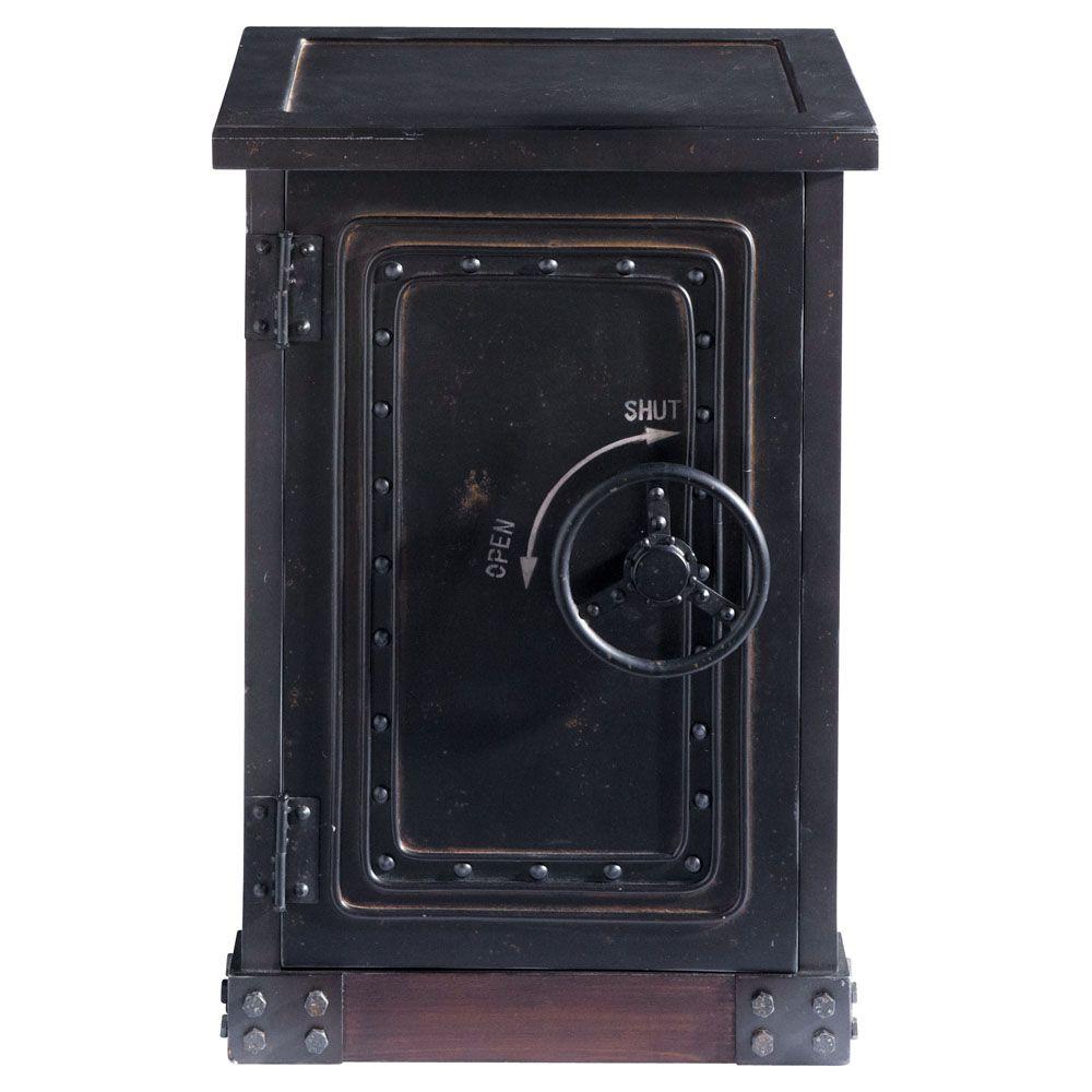 Cabinet de rangement coffre-fort en bois noir effet vieilli L 53 cm   Maisons du Monde   Cabinet ...