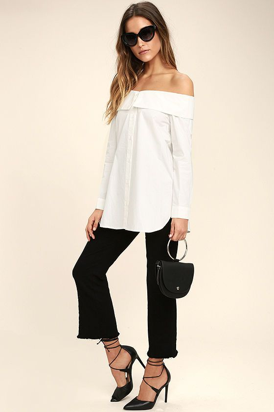 1b083dc6773d96 Head up town in the Chelsea Off-White Off-the-Shoulder Long Sleeve Top!  Sleek