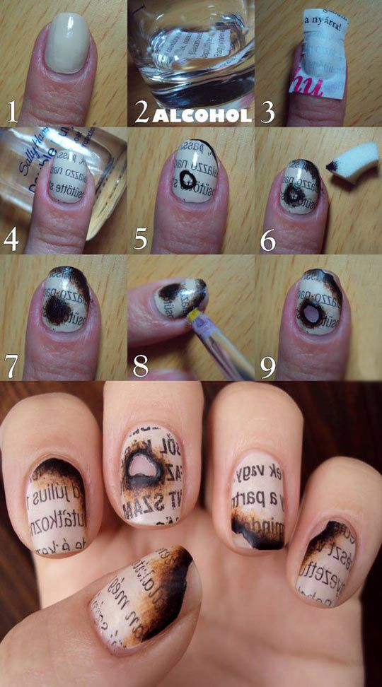 Fun And Geeky Way To Create A Cool Burnt Paper Effect For Your Nails