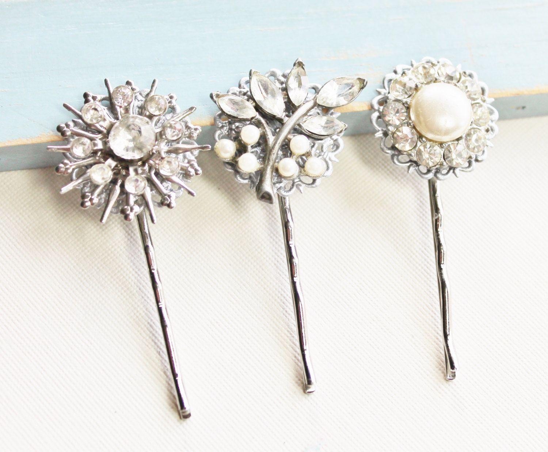true vintage bridal bobby pins,rhinestone pearl & gold,repurposed