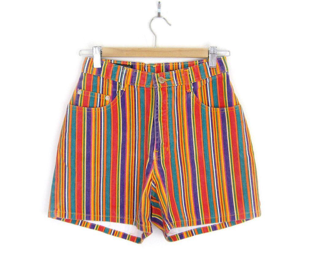 Sz 4 90s High Waisted Candy Striped Denim Shorts - Women's ...