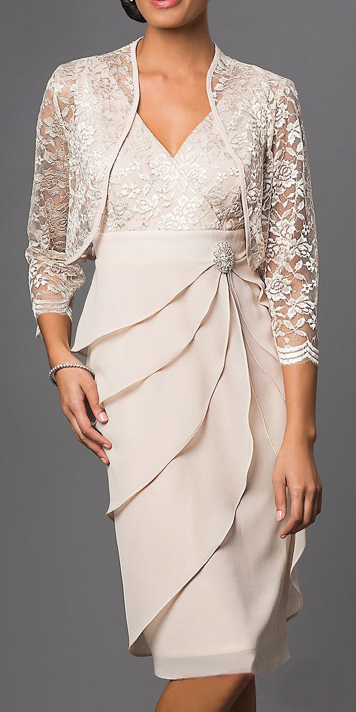 Short Formal Khaki Dress V-Neck Lace Chiffon 3/4 Sleeve Jacket