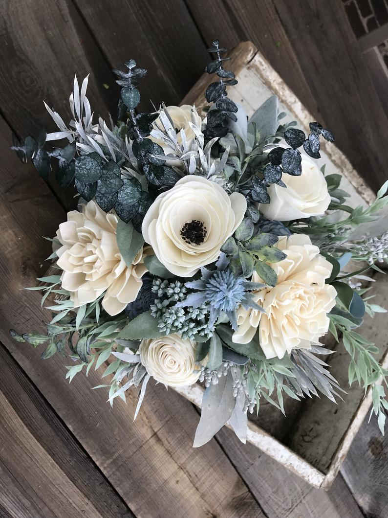 Wooden Flower Bouquet Anemone And Dahlia Bouquet Slate Blue Etsy Wooden Flower Bouquet Wood Flower Bouquet Flowers Bouquet