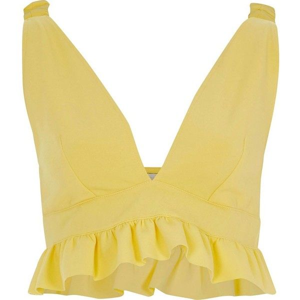 b47d85ae569 River Island Yellow frill hem bralette ($52) ❤ liked on Polyvore featuring  tops, crop tops / bralets, women, yellow, cut-out crop tops, bralet tops,  ...