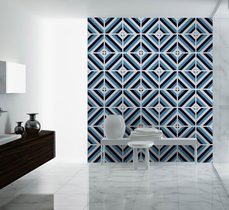 Diagonal Mid Century Tile Decals - Backsplash Tiles | Tile decals ...