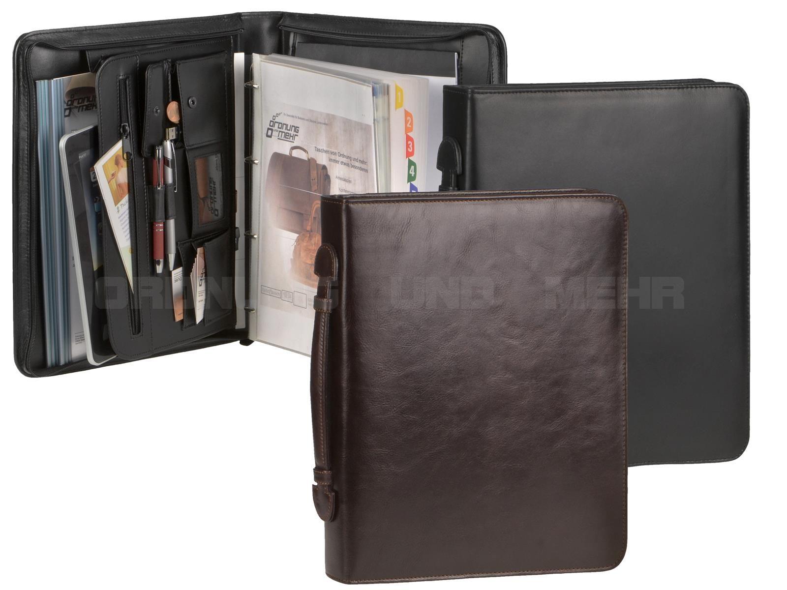 Dermata A4-Konferenzmappe 30mm braun Ringbuchmappe Leder auch für Linkshänder